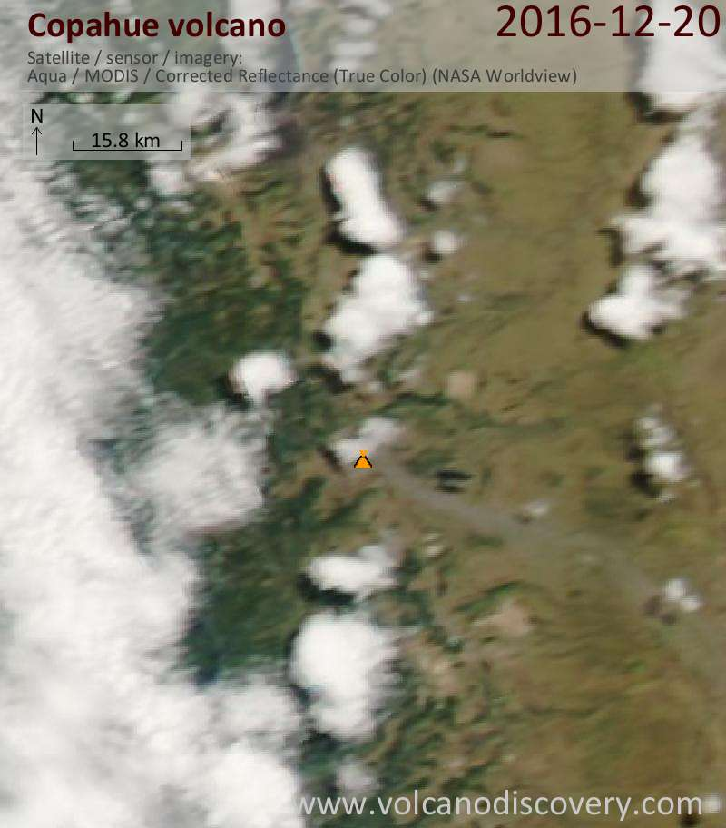 Satellite image of Copahue volcano on 21 Dec 2016