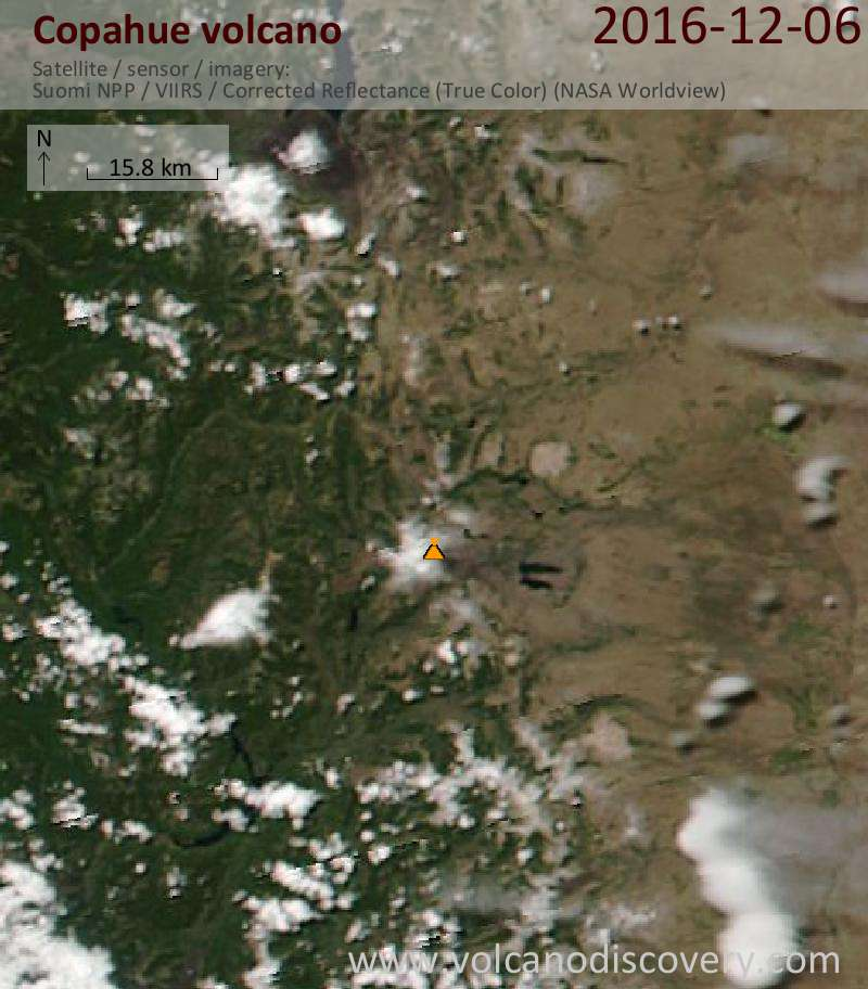 Satellite image of Copahue volcano on  6 Dec 2016