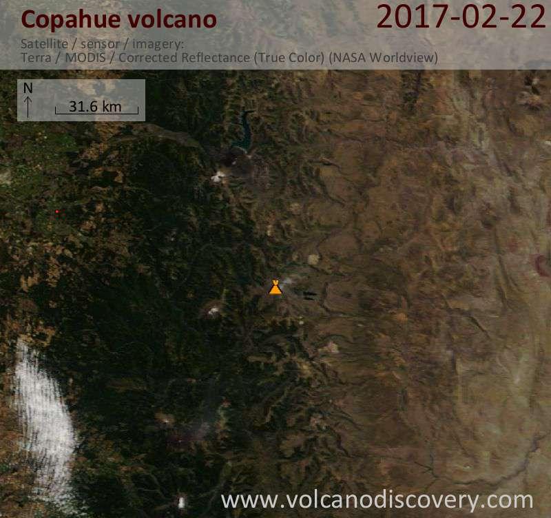 Satellite image of Copahue volcano on 22 Feb 2017
