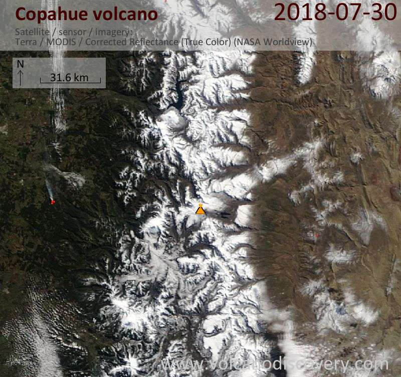 Satellite image of Copahue volcano on 30 Jul 2018