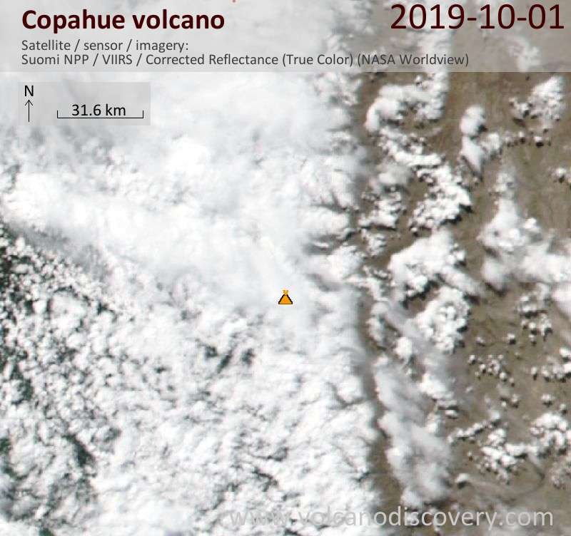 Satellite image of Copahue volcano on  2 Oct 2019