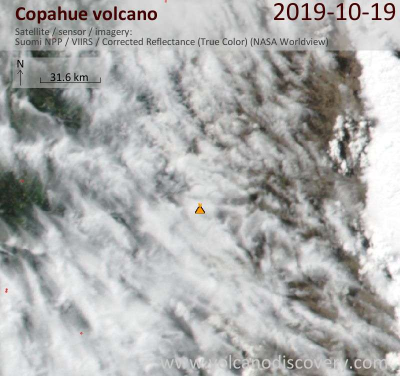 Satellite image of Copahue volcano on 20 Oct 2019