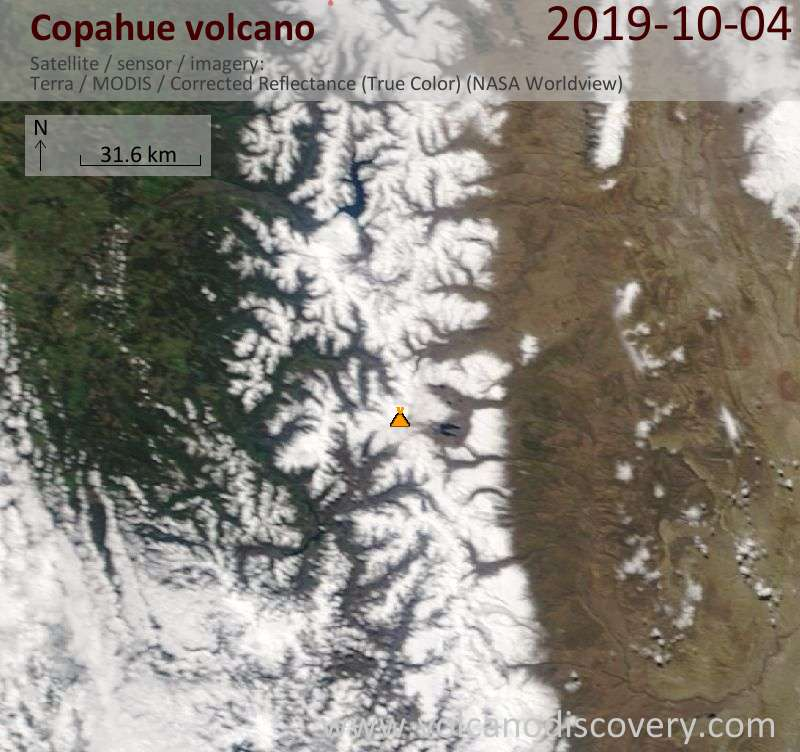 Satellite image of Copahue volcano on  4 Oct 2019