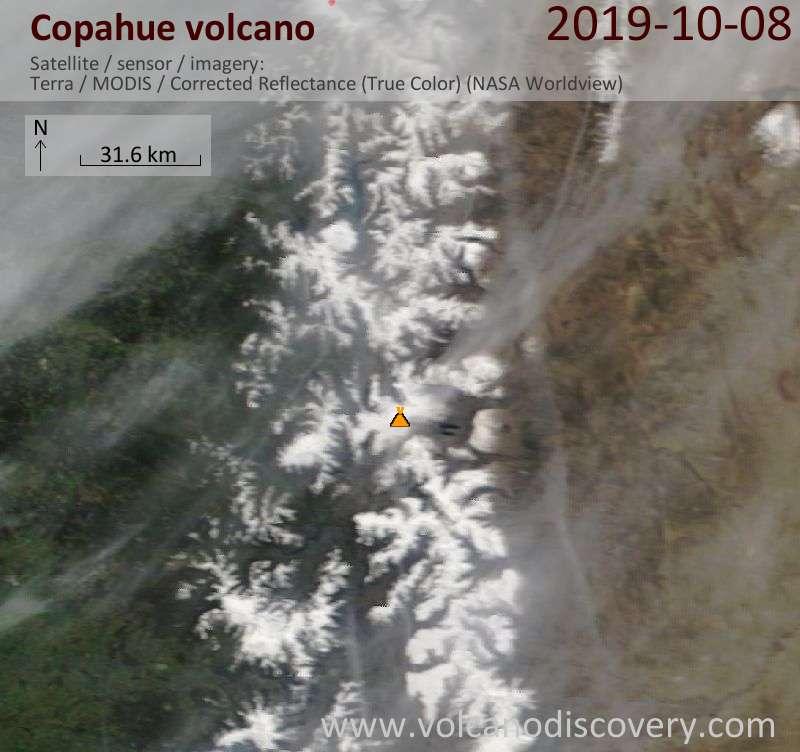 Satellite image of Copahue volcano on  8 Oct 2019