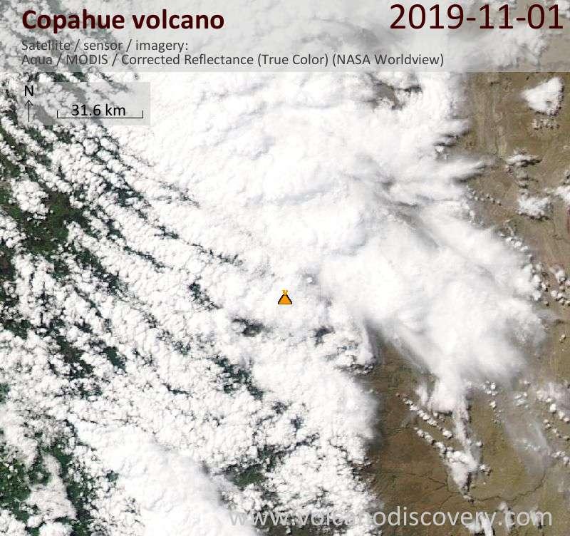 Satellite image of Copahue volcano on  1 Nov 2019