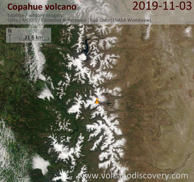Satellitenbild des Copahue Vulkans am  3 Nov 2019