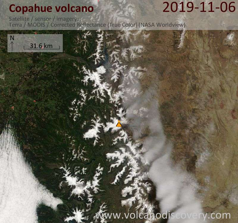 Satellite image of Copahue volcano on  6 Nov 2019