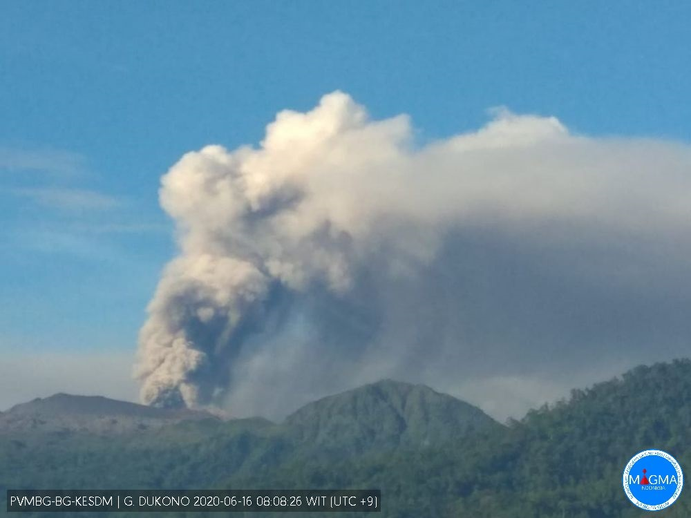 Ash emissions from Dukono volcano on 16 June (image: PVMBG)