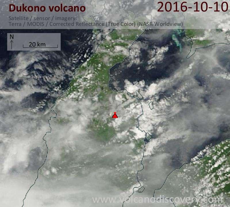 Satellite image of Dukono volcano on 10 Oct 2016
