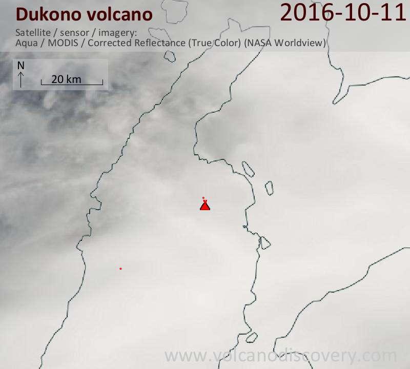 Satellite image of Dukono volcano on 12 Oct 2016
