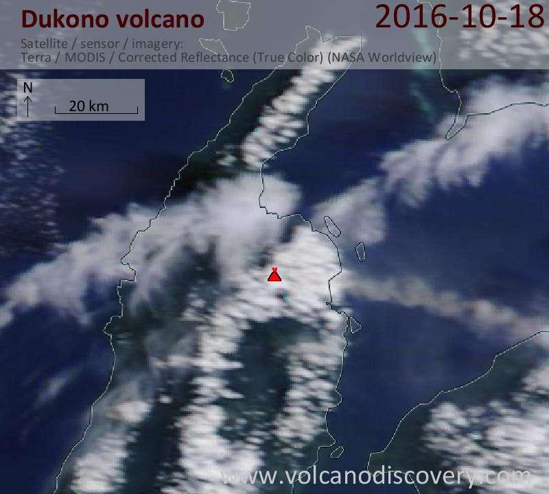 Satellite image of Dukono volcano on 18 Oct 2016
