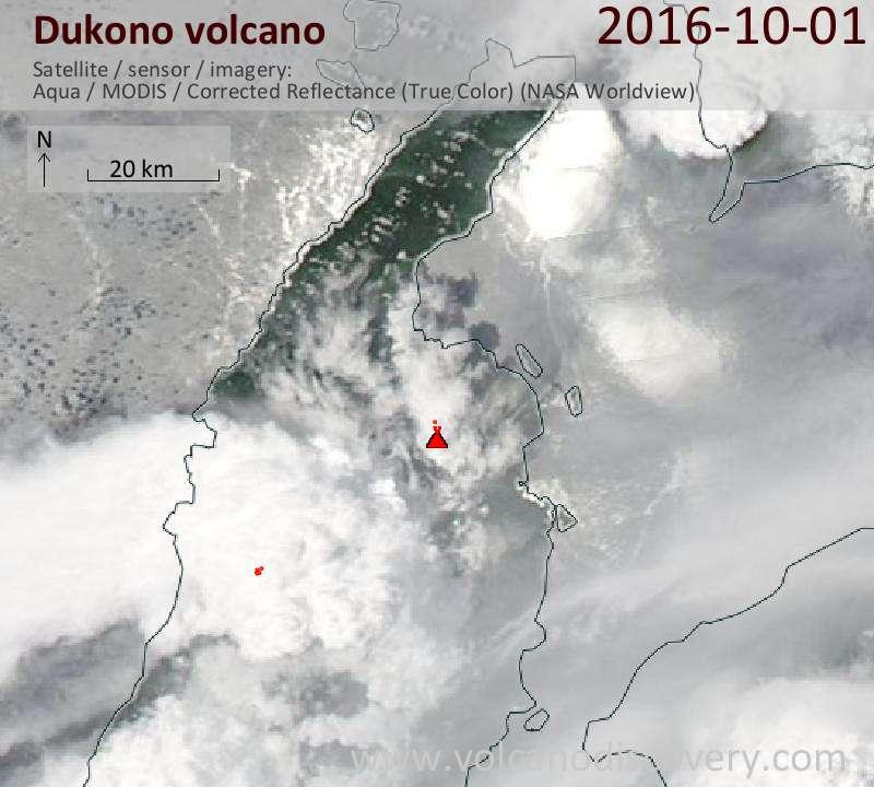 Satellite image of Dukono volcano on  2 Oct 2016