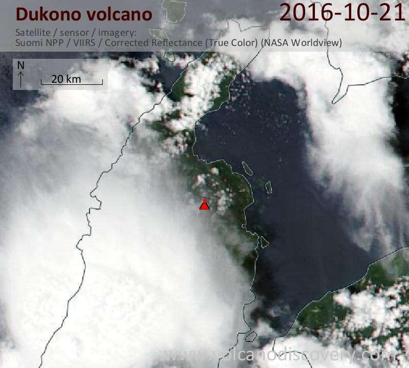 Satellite image of Dukono volcano on 21 Oct 2016