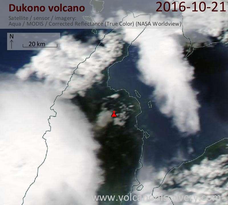 Satellite image of Dukono volcano on 22 Oct 2016