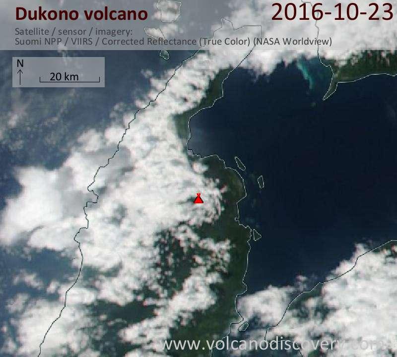 Satellite image of Dukono volcano on 23 Oct 2016