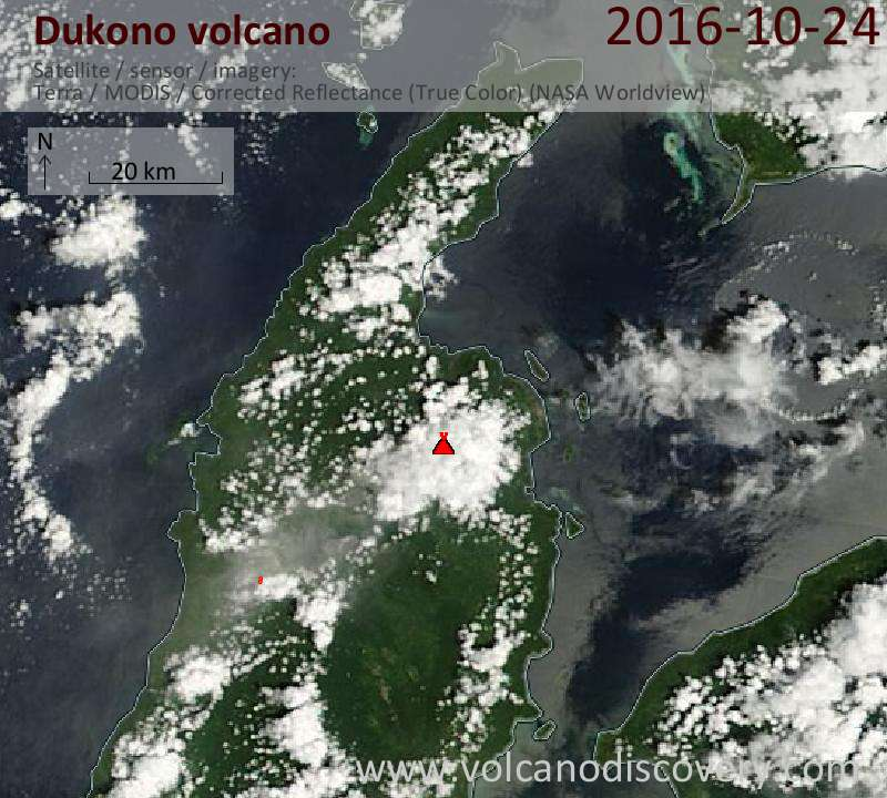 Satellite image of Dukono volcano on 24 Oct 2016
