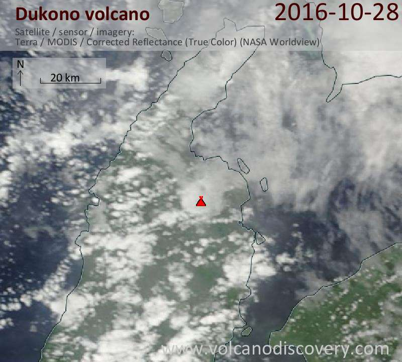 Satellite image of Dukono volcano on 28 Oct 2016