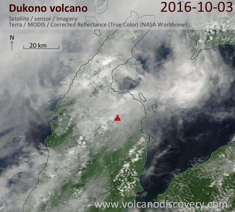 Satellite image of Dukono volcano on  3 Oct 2016