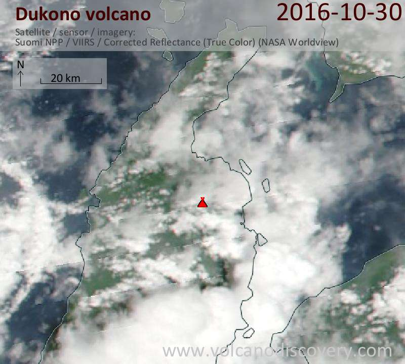 Satellite image of Dukono volcano on 30 Oct 2016