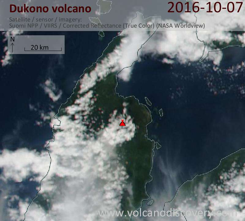 Satellite image of Dukono volcano on  7 Oct 2016