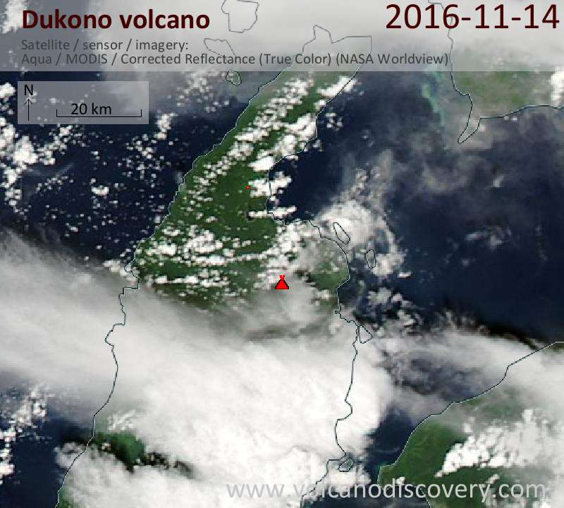 Satellite image of Dukono volcano on 14 Nov 2016