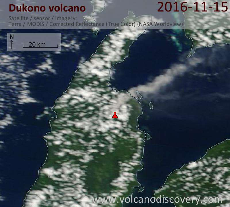 Satellite image of Dukono volcano on 15 Nov 2016