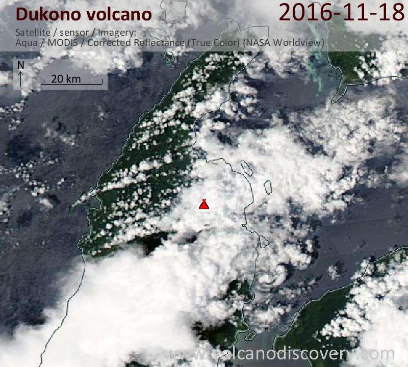 Satellite image of Dukono volcano on 19 Nov 2016
