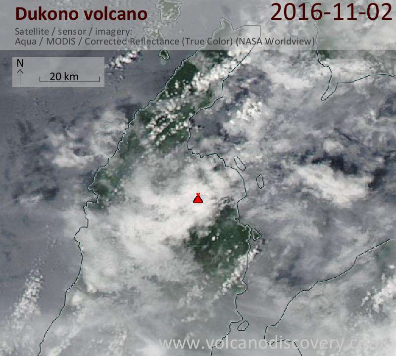 Satellite image of Dukono volcano on  2 Nov 2016