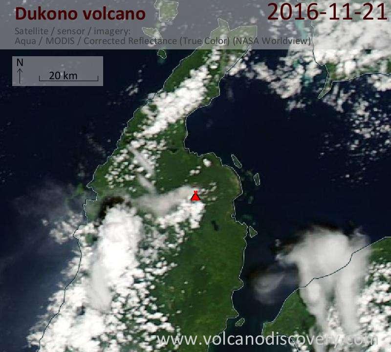 Satellite image of Dukono volcano on 21 Nov 2016