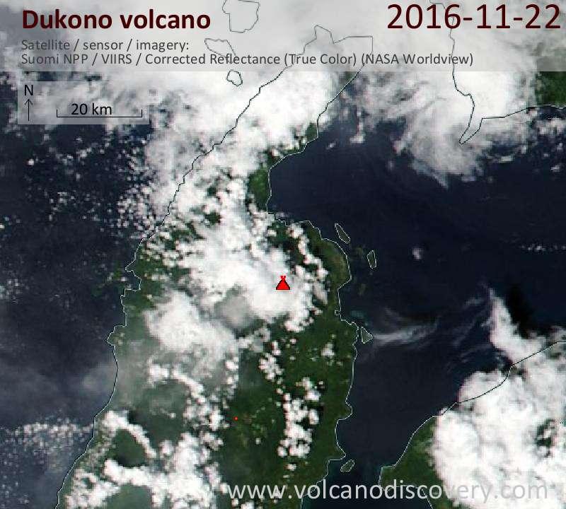 Satellite image of Dukono volcano on 22 Nov 2016