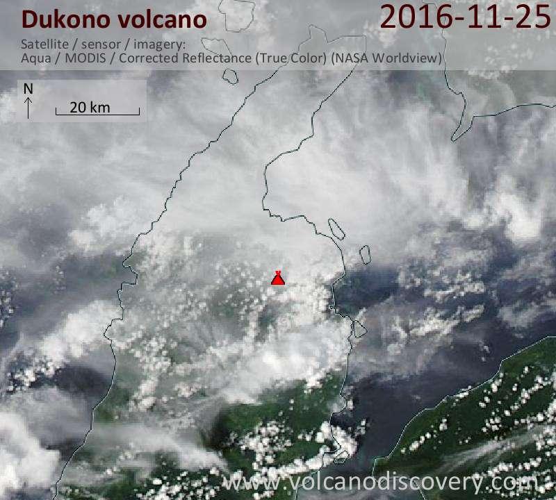 Satellite image of Dukono volcano on 25 Nov 2016