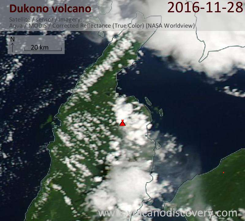 Satellite image of Dukono volcano on 28 Nov 2016