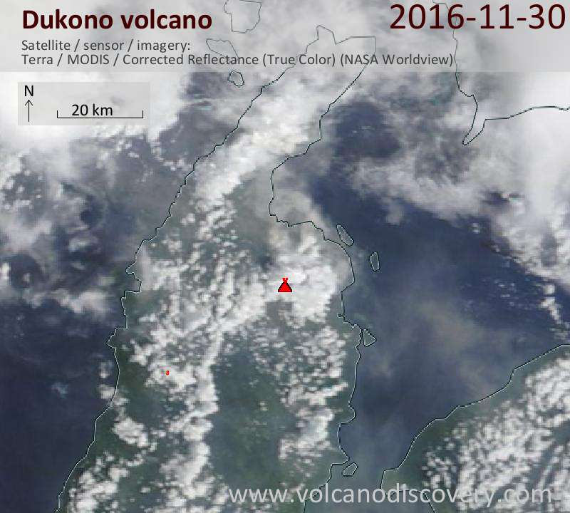 Satellite image of Dukono volcano on 30 Nov 2016