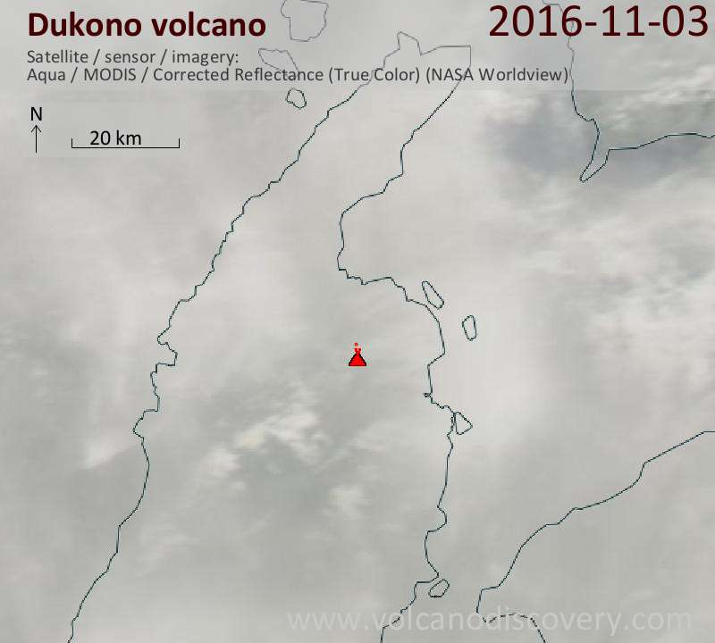 Satellite image of Dukono volcano on  4 Nov 2016