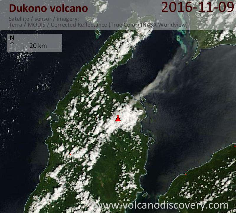 Satellite image of Dukono volcano on  9 Nov 2016