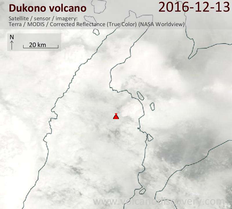 Satellite image of Dukono volcano on 13 Dec 2016
