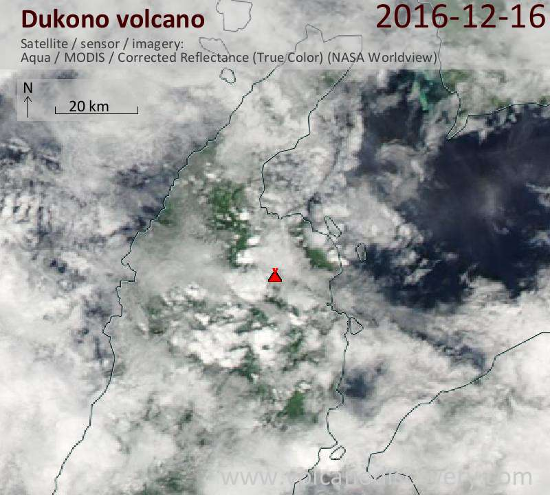 Satellite image of Dukono volcano on 16 Dec 2016