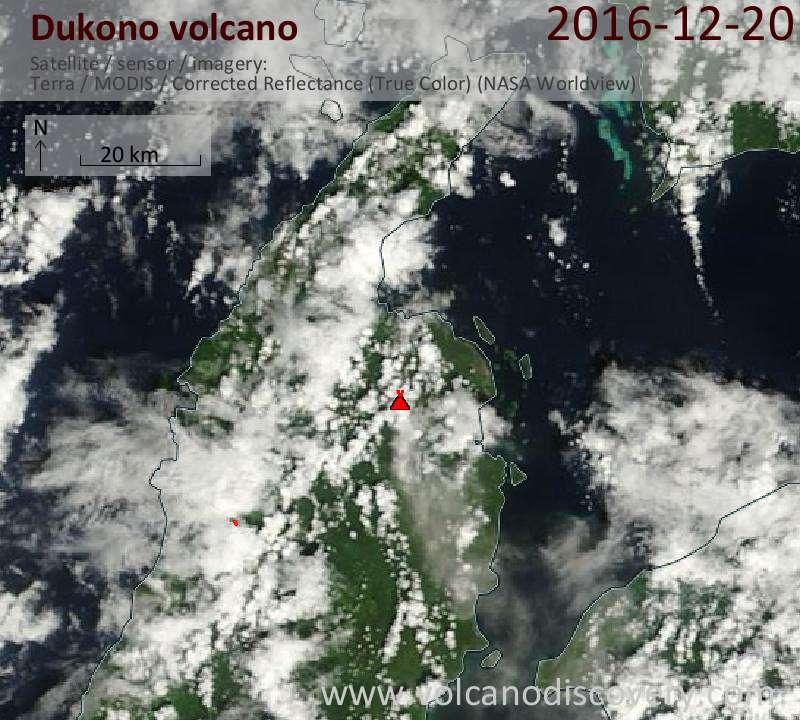 Satellite image of Dukono volcano on 20 Dec 2016