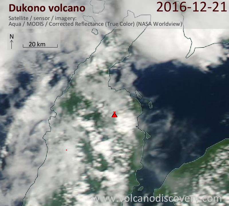 Satellite image of Dukono volcano on 21 Dec 2016