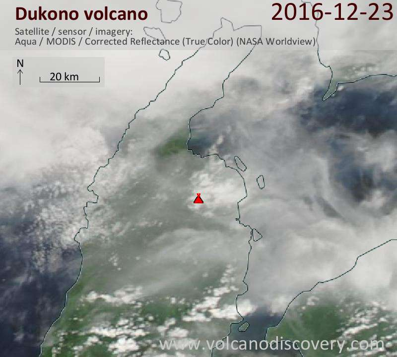 Satellite image of Dukono volcano on 23 Dec 2016
