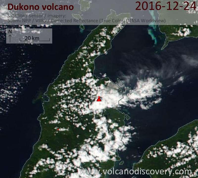 Satellite image of Dukono volcano on 24 Dec 2016