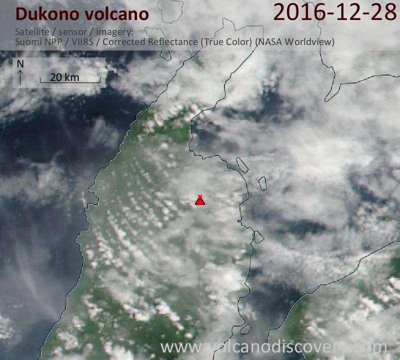 Satellite image of Dukono volcano on 28 Dec 2016