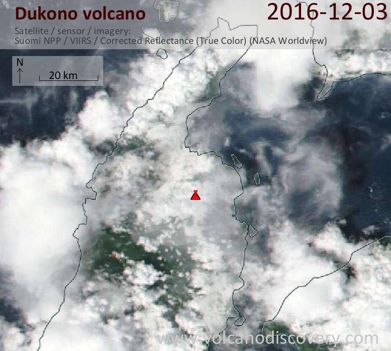 Satellite image of Dukono volcano on  3 Dec 2016