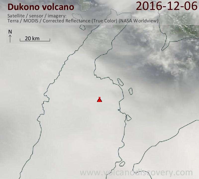 Satellite image of Dukono volcano on  6 Dec 2016