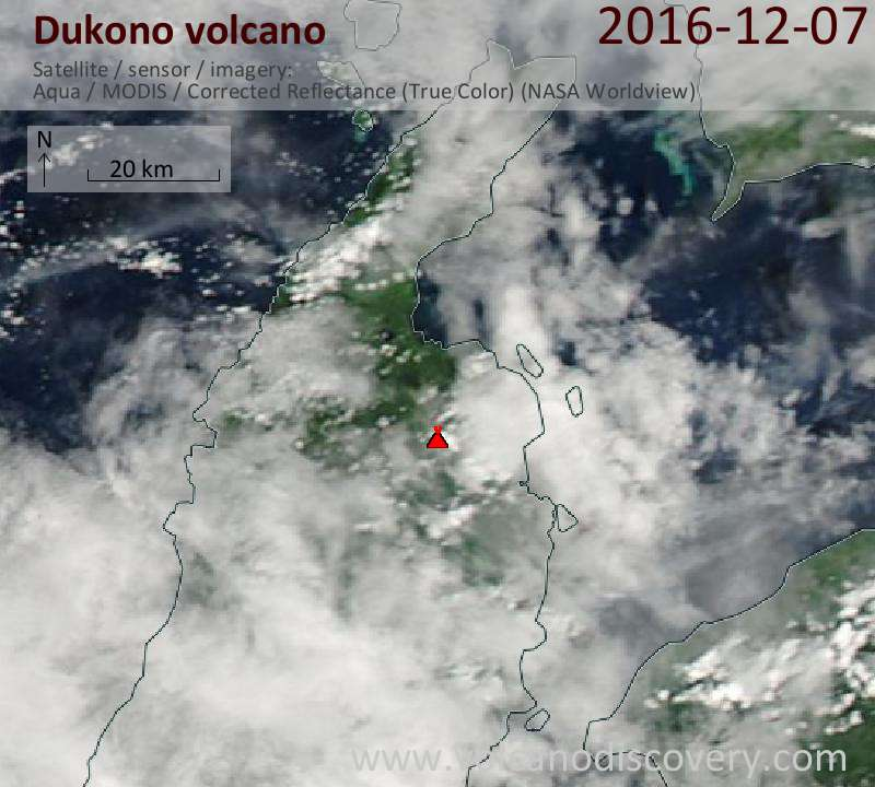 Satellite image of Dukono volcano on  7 Dec 2016