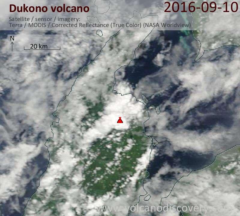 Satellite image of Dukono volcano on 10 Sep 2016