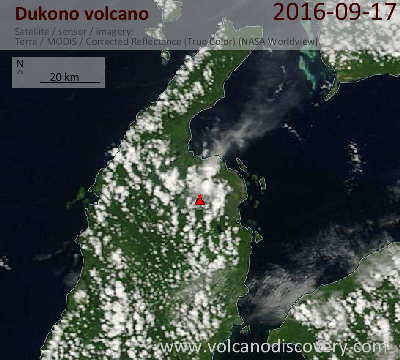 Satellite image of Dukono volcano on 18 Sep 2016