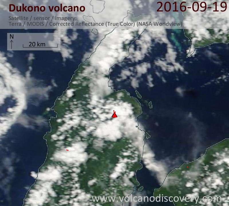 Satellite image of Dukono volcano on 19 Sep 2016