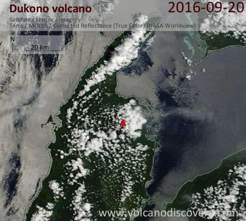 Satellite image of Dukono volcano on 20 Sep 2016