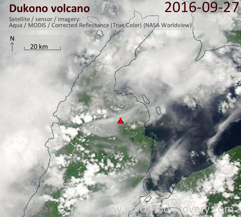 Satellite image of Dukono volcano on 27 Sep 2016
